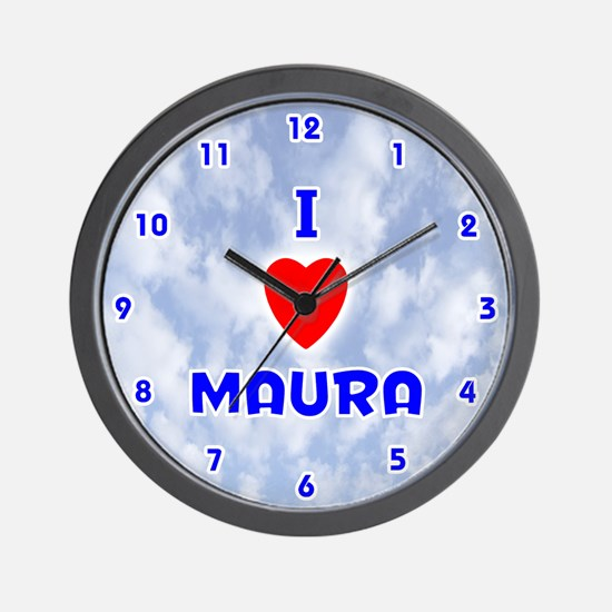 I Love Maura (Blue) Valentine Wall Clock