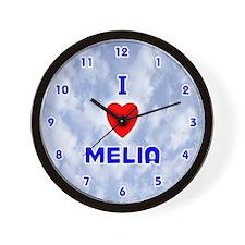 I Love Melia (Blue) Valentine Wall Clock