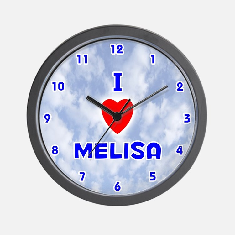 I Love Melisa (Blue) Valentine Wall Clock