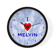 I Love Melvin (Blue) Valentine Wall Clock