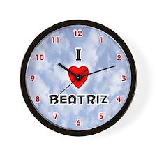 I Love Beatriz (Red/Blk) Valentine Wall Clock