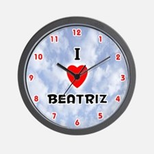I Love Beatriz (Red/Blk) Valentine Wall Clock