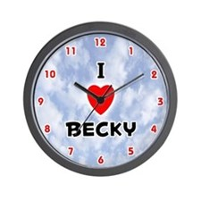 I Love Becky (Red/Blk) Valentine Wall Clock
