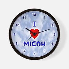 I Love Micah (Blue) Valentine Wall Clock