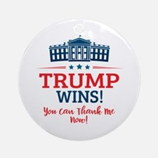 Trump Wins Round Ornament