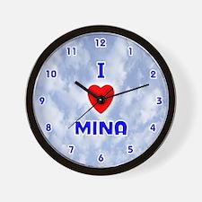 I Love Mina (Blue) Valentine Wall Clock