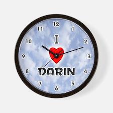 I Love Darin (Black) Valentine Wall Clock