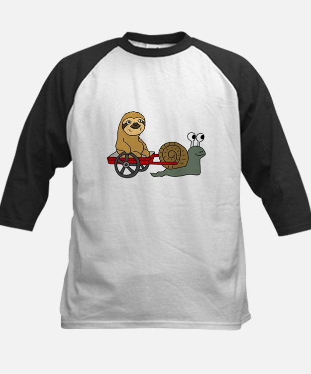 Snail Pulling Wagon with Sloth Baseball Jersey