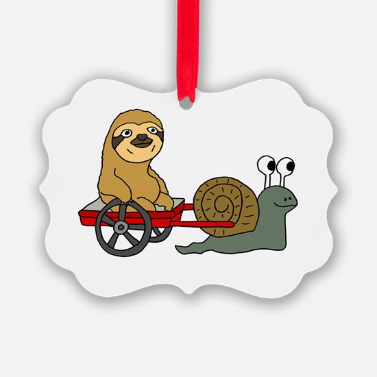 Snail Pulling Wagon with Sloth Ornament