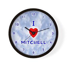 I Love Mitchell (Blue) Valentine Wall Clock