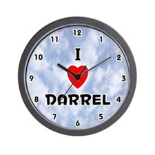 I Love Darrel (Black) Valentine Wall Clock