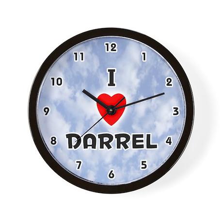 I Love Darrel (Black) Valentine Wall Clock
