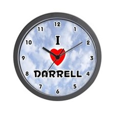 I Love Darrell (Black) Valentine Wall Clock