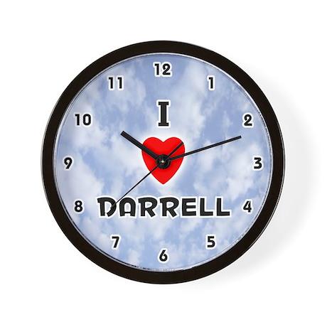 I Love Darrell (Black) Valentine Wall Clock