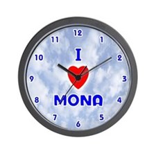 I Love Mona (Blue) Valentine Wall Clock