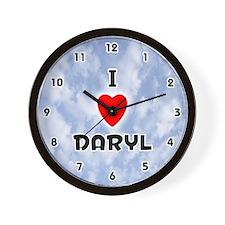 I Love Daryl (Black) Valentine Wall Clock