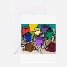 Cups and Spoons Greeting Cards