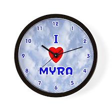 I Love Myra (Blue) Valentine Wall Clock