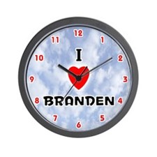 I Love Branden (Red/Blk) Valentine Wall Clock