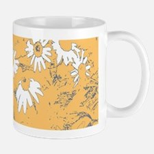 White Coneflowers with Orange Background Mugs