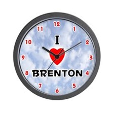 I Love Brenton (Red/Blk) Valentine Wall Clock