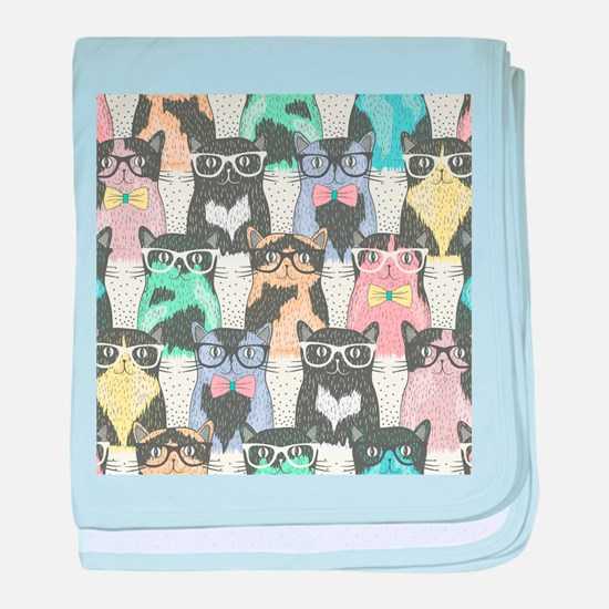 Hipster Cats baby blanket
