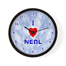 I Love Neal (Blue) Valentine Wall Clock
