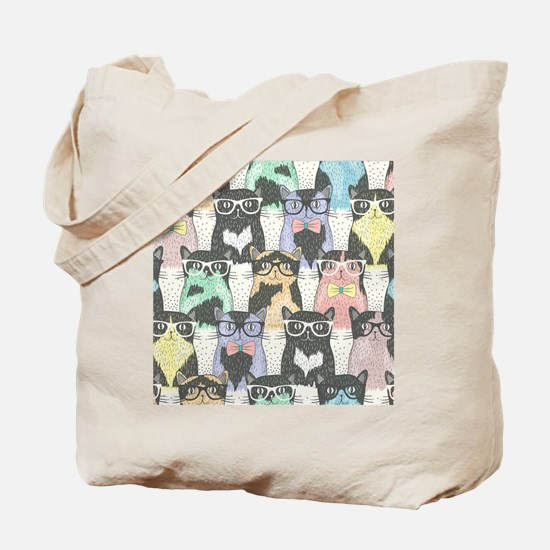Hipster Cats Tote Bag