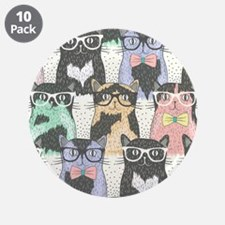 """Hipster Cats 3.5"""" Button (10 pack)"""
