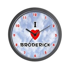 I Love Broderick (Red/Blk) Valentine Wall Clock