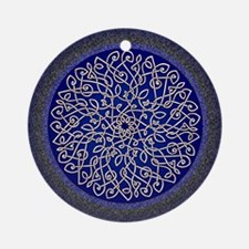 Blue Celtic Art Burst Round Ornament