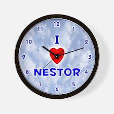 I Love Nestor (Blue) Valentine Wall Clock