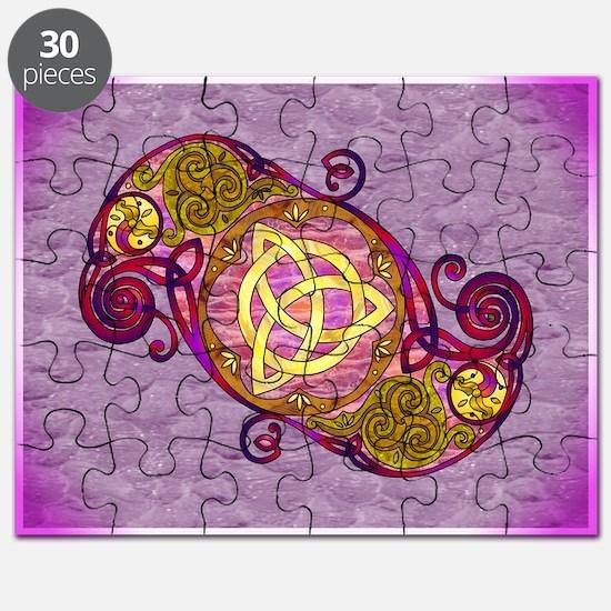 Magenta Celtic Art Spiral Trinity Knot Puzzle