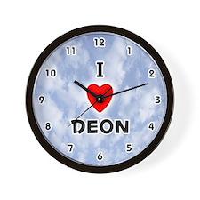 I Love Deon (Black) Valentine Wall Clock