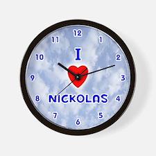 I Love Nickolas (Blue) Valentine Wall Clock