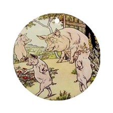 """""""Little Pigs Leave Home"""" Ornament (Round)"""