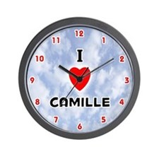I Love Camille (Red/Blk) Valentine Wall Clock