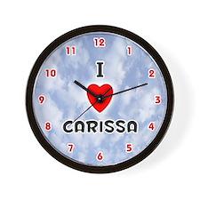 I Love Carissa (Red/Blk) Valentine Wall Clock