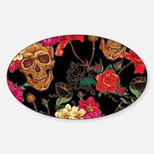 Cute Rose sugar skulls Sticker (Oval)