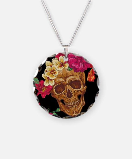 Cute Sugar skull Necklace Circle Charm