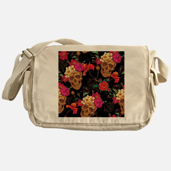 floral Skulls Messenger Bag
