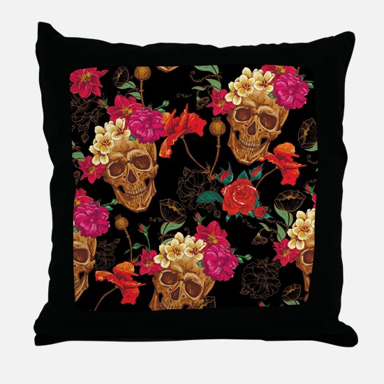 floral Skulls Throw Pillow