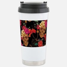 floral Skulls Stainless Steel Travel Mug