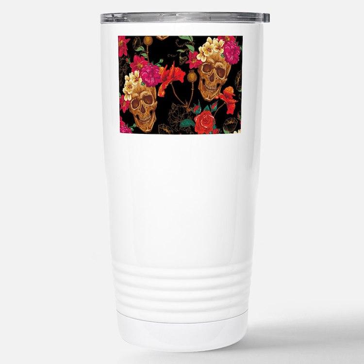 floral Skulls Travel Mug