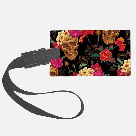 floral Skulls Luggage Tag