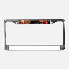 floral Skulls License Plate Frame