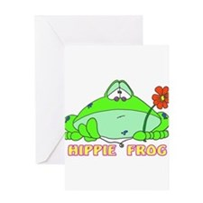 HIPPIE FROG Greeting Card