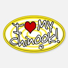Hypno I Love My Chinook Oval Sticker Ylw
