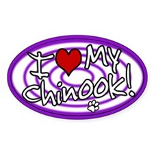 Hypno I Love My Chinook Oval Sticker Purp