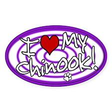 Hypno I Love My Chinook Oval Sticker Purp